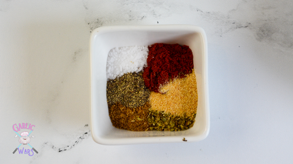 small bowl with spanish chickpea ingredients