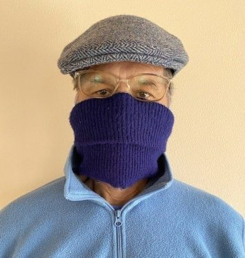 coronavirus outbreak protection: wear a scarf around your face.