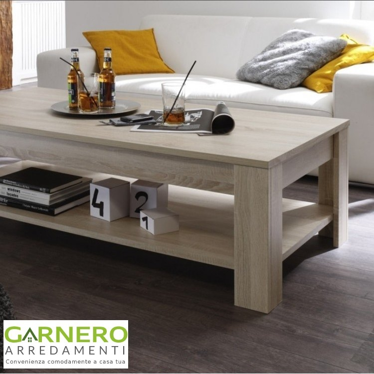Tavolino da salotto RUSTICA con ripiano rovere samoa comodopratico moderno  eBay
