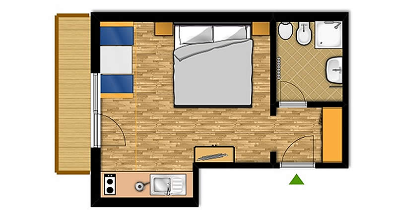 One-room apartment for 2 people