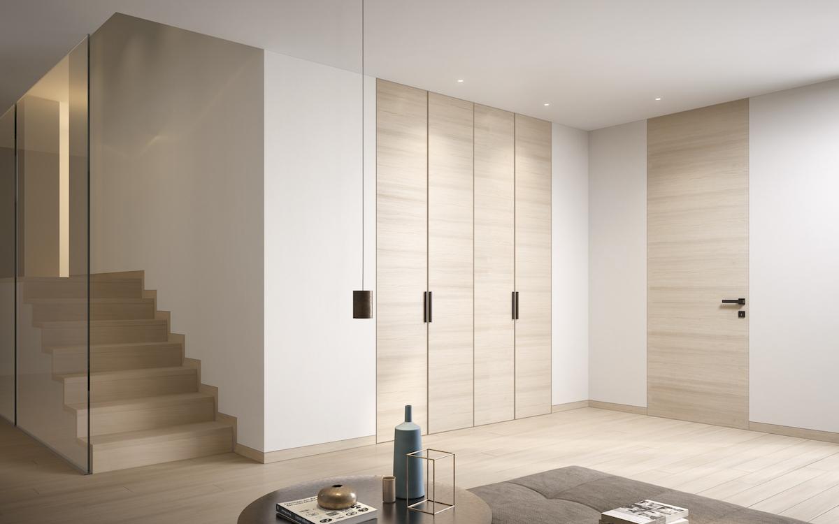 Porte filo muro personalizzabili legno laminato vetro