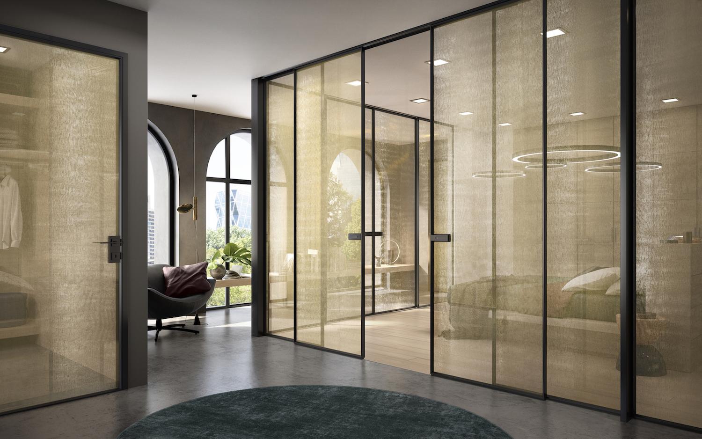 Porte interne in vetro e vetrate scorrevoli  Garofoli