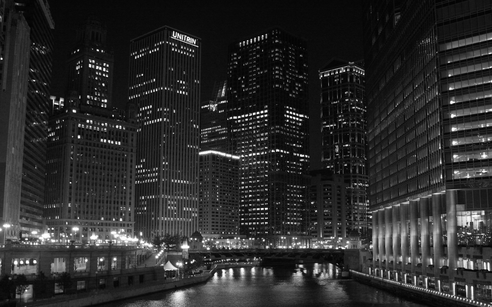 Chicago skyline at night black and white