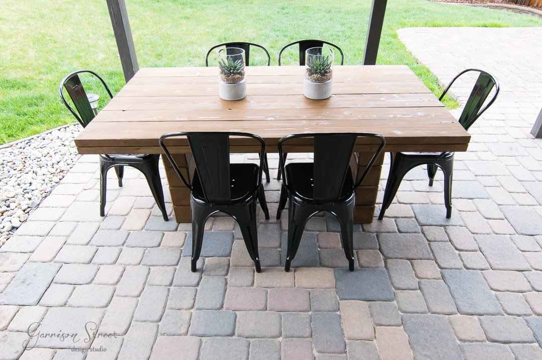 diy outdoor dining table garrison street design studio. Black Bedroom Furniture Sets. Home Design Ideas