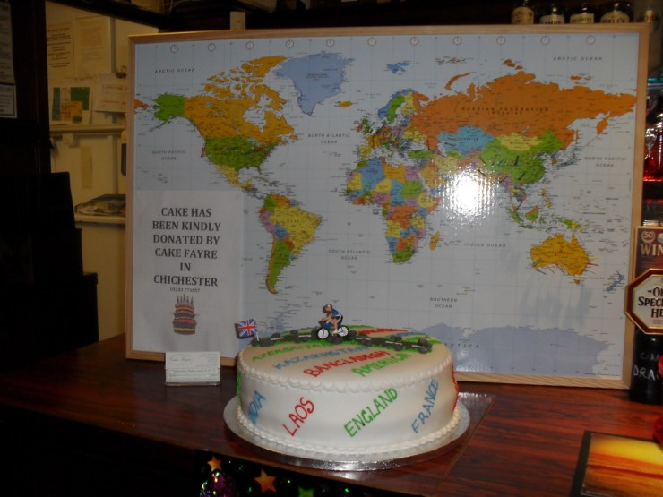 Map of the world and a cake