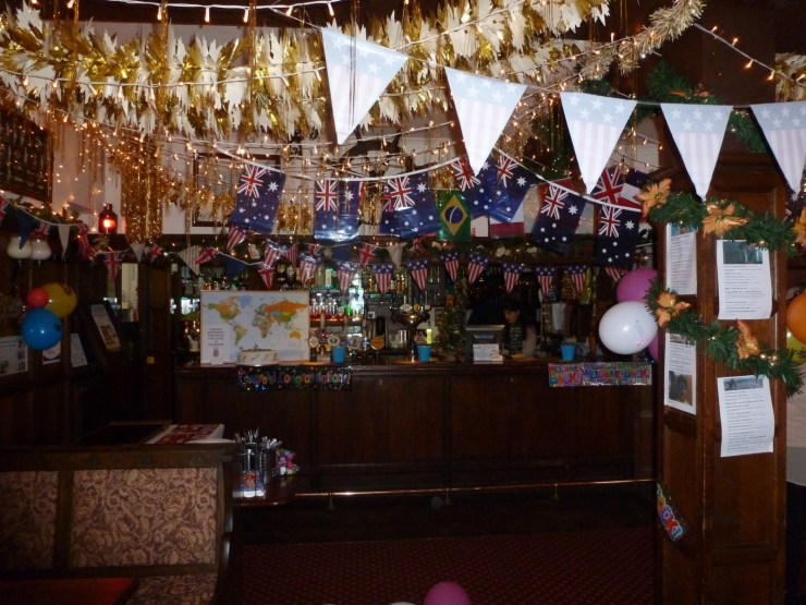 Bar all decorated with flags of the world