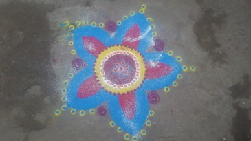 One of the brightly coloured that was outside every shop in Dhule meaning welcome.