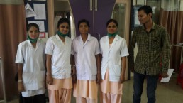 The nurses that looked after Garry in Dhule.