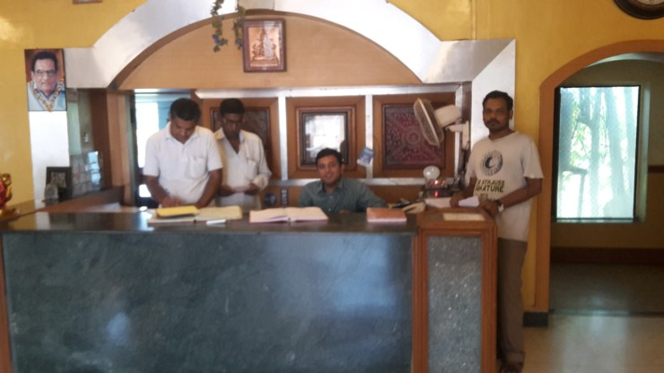 Staff at the hotel Ganapati Palace in Dhule