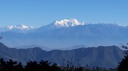 Stunning views of the snow capped mountains in the distance on the Tribhuvan Highway.