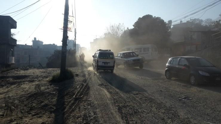 Dusty road in Kathmandu