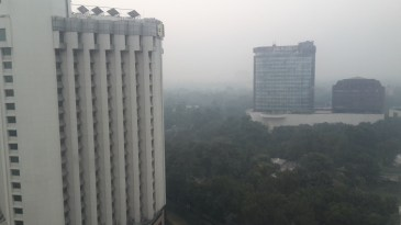 The view of a smoggy Delhi from Garry's hotel room