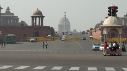 Looking up towards Rashtrapati Bhavan the presidents residence Delhi