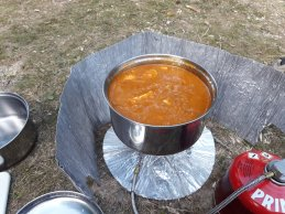 Curry on a camp stove