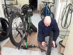 Man repairing a bike