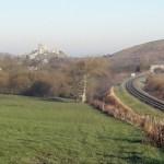 Castle, fields and railway line