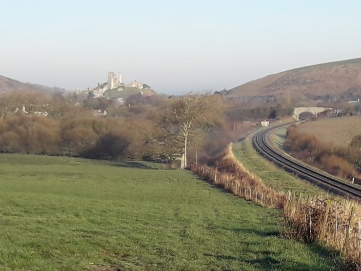 Castle, hills and railway