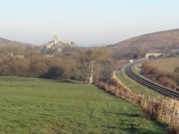 Castle, fields and railway line