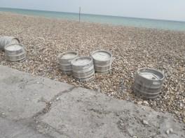 Beer barrels on the beach