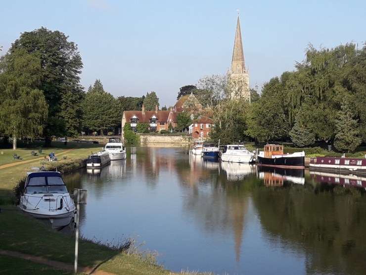 River boats church spire