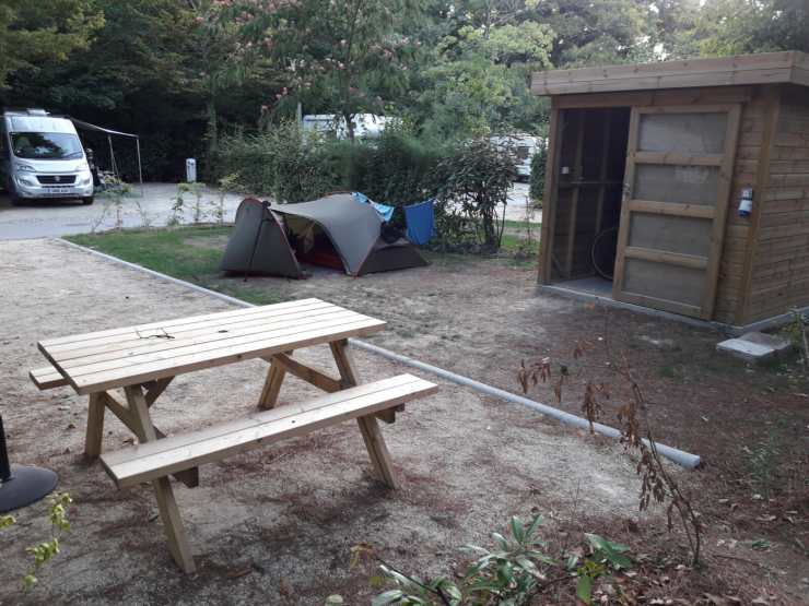 Tent shed bench