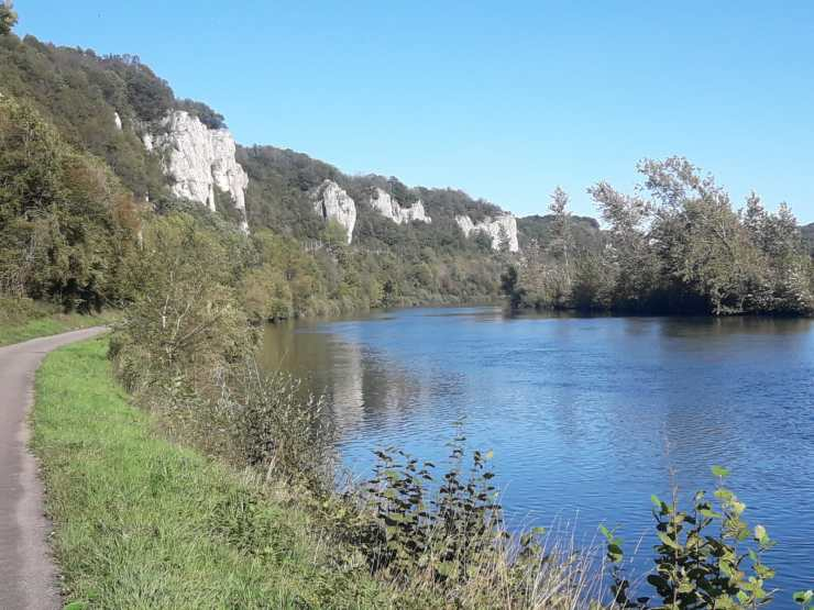 River cliffs blue sky