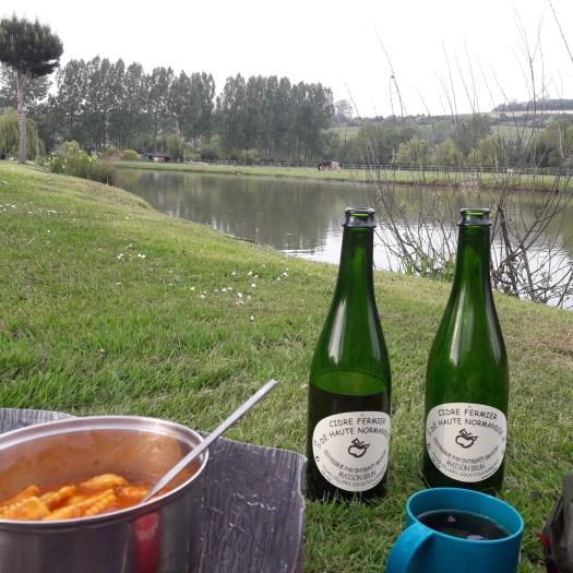 Bottles cooking pot lake