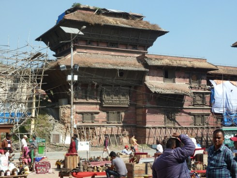 Nasel Chowk nine storey building that isn't nine storeys any more after the earthquake in 2015. Durbar Square Kathmandu