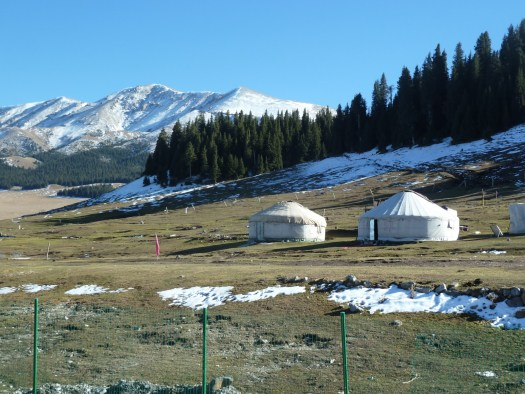 Yurts in mountains