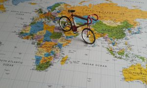 Bicycle on a map of the world