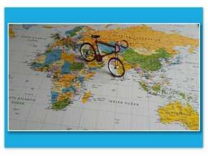 World map with bike
