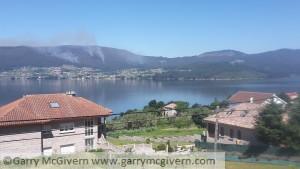 Forest fires across the bay of Vigo