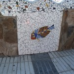 Mosaic of a fish on a wall in Puerto De Mogan
