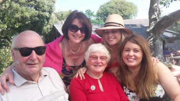 Julie with her family on her birthday