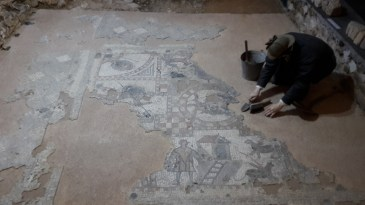 Mosaic in the Roman Villa at Brading Isle of Wight