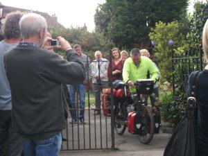 Garry McGivern setting off on his bike