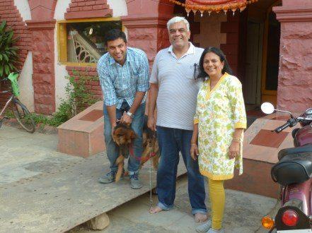 Deepam, Pradeep, Kalpana and Bagheeva the dog, owners of the hotel Ganapati Palace in Dhule.