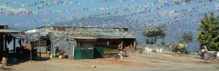Bunting at a village on the way down the Tribhuvan Highway
