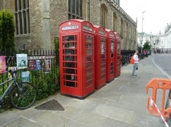 Traditional British red phone box