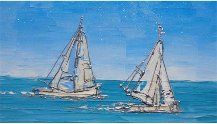 Paesaggio di mare con barche  Vendita Quadri Online