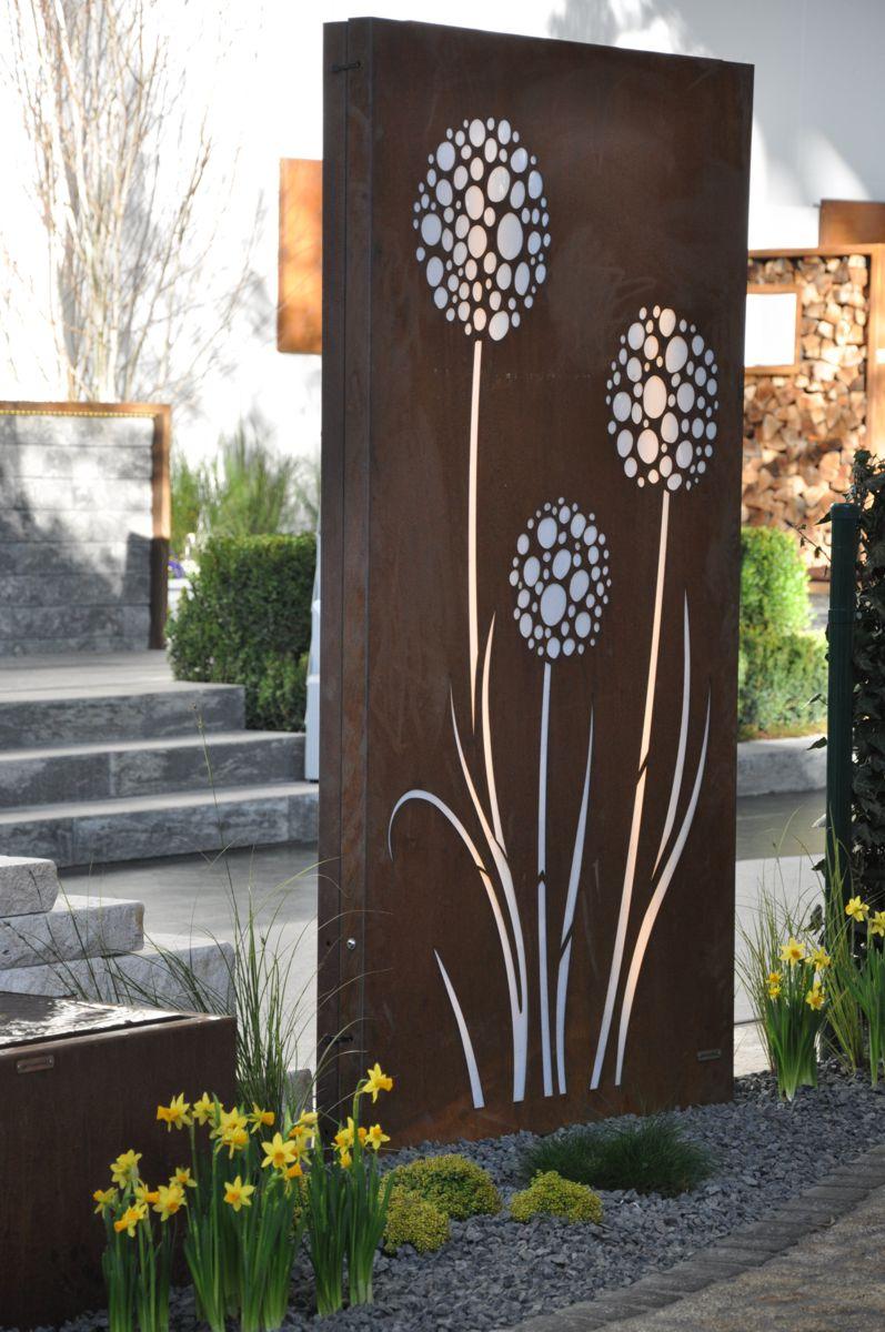 Cortenstahl Sichtschutz Vista 180 x 100 cm beleuchtet mit Motiv  wwwgartenbrondershopcom
