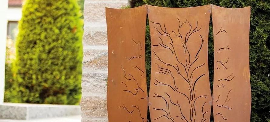 garten paravent als sichtschutz rost optik motiv weide - boisholz, Hause und garten