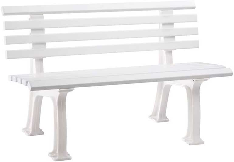 Parkbank aus Kunststoff - mit 9 Leisten - Breite 1200 mm, weiß - Sitzbank Gartenbank Ruhebank Bank für Außenbereich UV- und witterungsbeständig PVC Bank