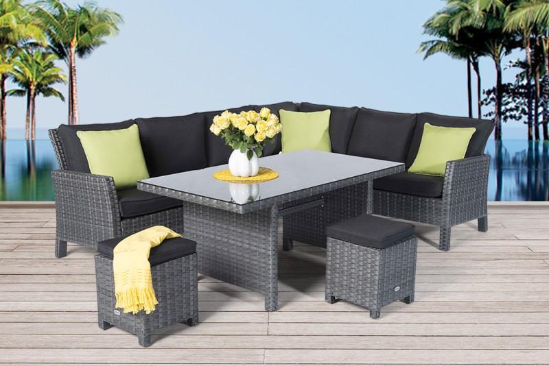 Gartenmbel  Gartentische  Gartensthle  Rattan Tisch  Darling  150cm  mix grau