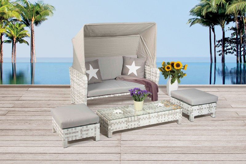 Rattan Lounge  Florida Strandkorb  Grau Weiss  Gartenmbel  Rattanmbel