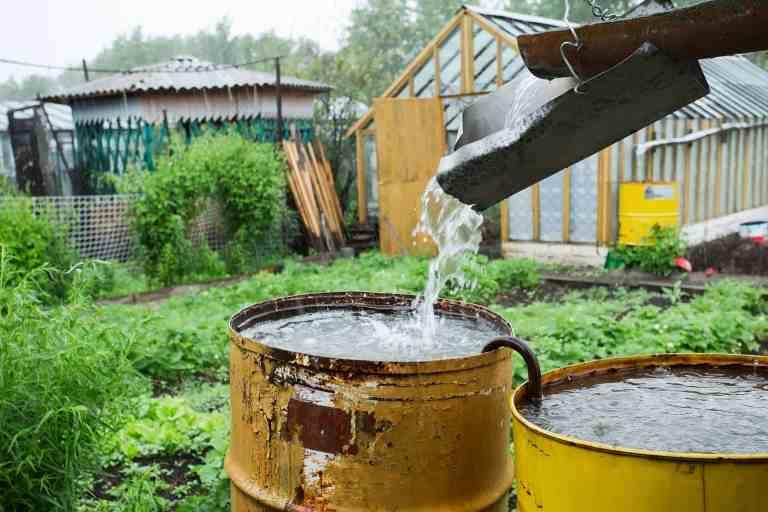 Wasser rinnt in Regentonne
