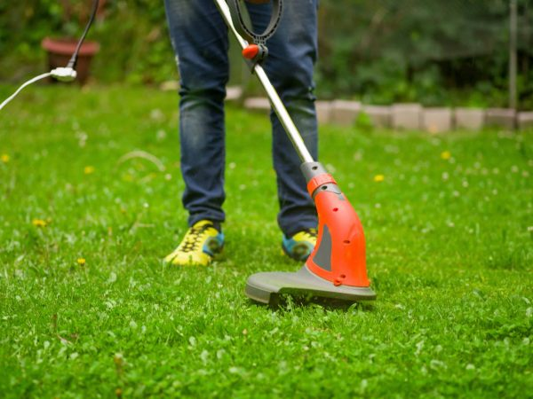 Close up of young worker with a string lawn trimmer mower cutting grass in a blurred nature background.