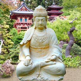 von gl ck und erleuchtung buddhas lehren buddha figuren im garten. Black Bedroom Furniture Sets. Home Design Ideas