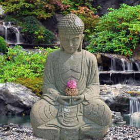 """Naturstein Buddhafigur """"Teratei"""" -  Steinfigur für den Garten"""