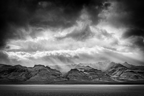 The Steens Mountains in black and white.